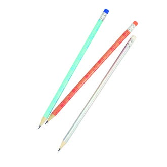 set de 3 crayons de bois à motif chat et holographique