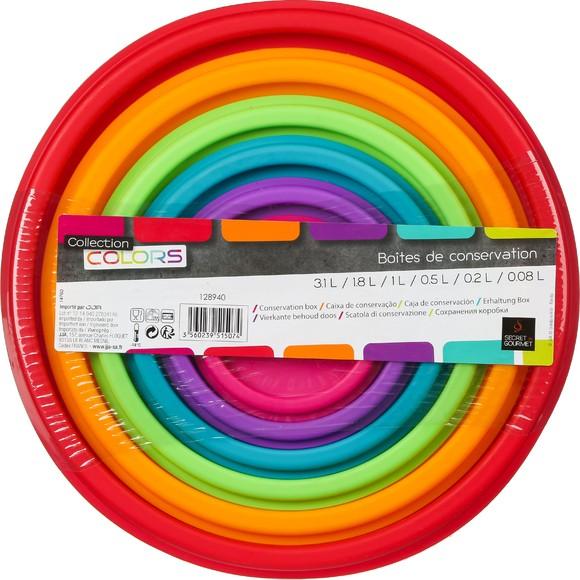 compra en línea Juego de 6 tuppers redondos apilables multicolor