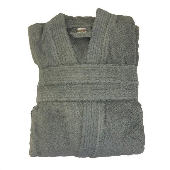 Accappatoio in spugna di cotone grigio taglia S