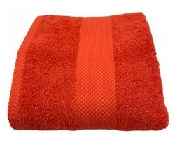 compra en línea Toalla de ducha felpa de algodón rojo anaranjado (70x130cm)