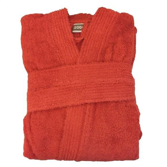 compra en línea Albornoz unisex talla M en felpa de algodón rojo granada