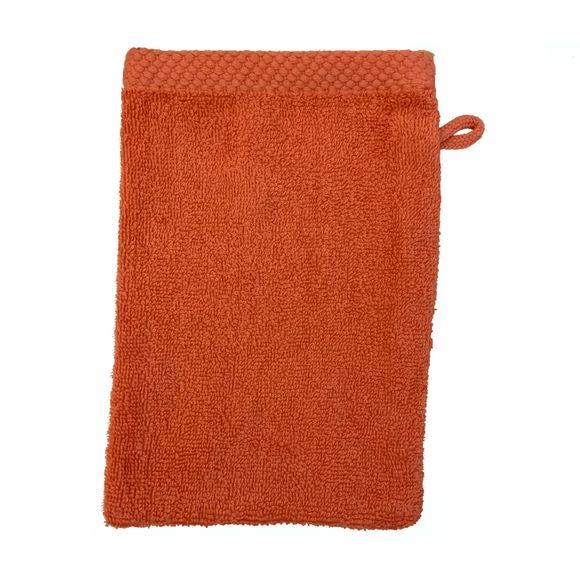 Gant de toilette en coton éponge terracota