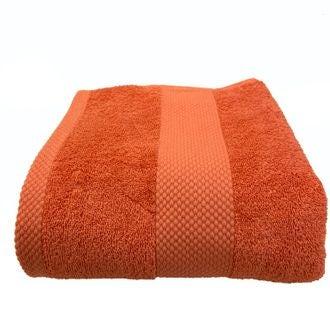 Serviette de bain en coton éponge terracota 90x140cm