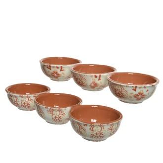 Trio de bols en terre cuite décorés main