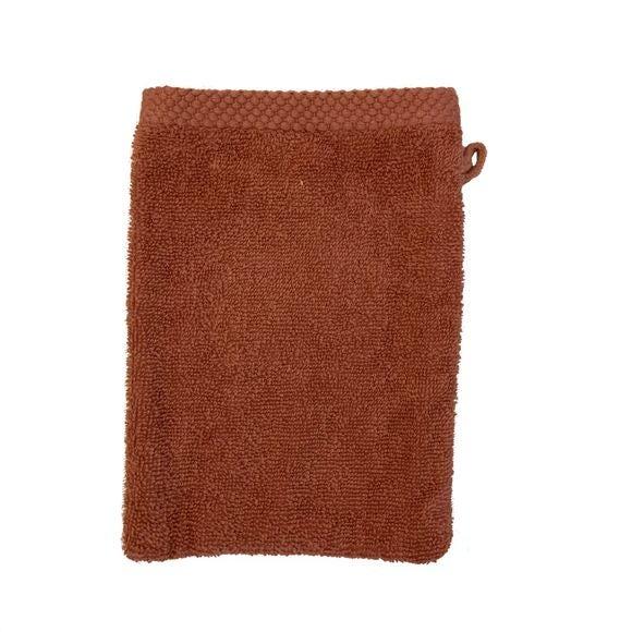 Gant de toilette en coton éponge fané