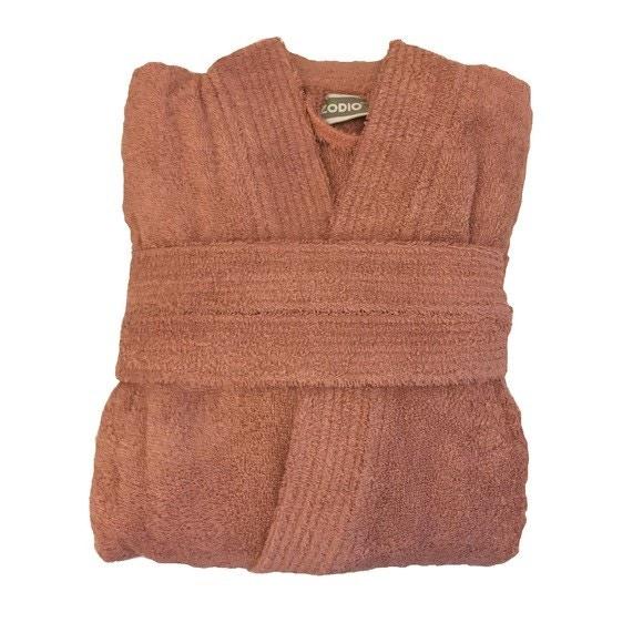 compra en línea Albornoz unisex talla L en felpa de algodón marrón claro