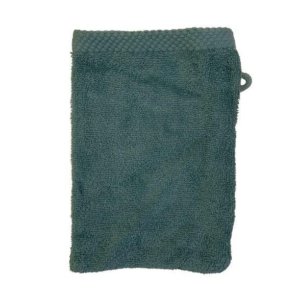 Gant de toilette en coton éponge bleu postal