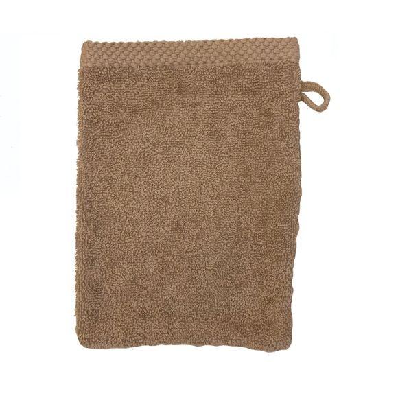 Guanto da bagno in cotone beige