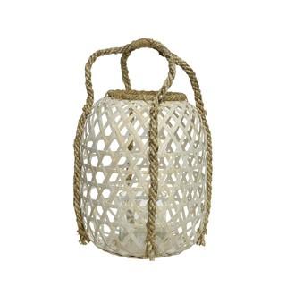 Lanterne bambou avec anse en corde pm