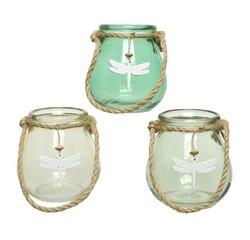 acquista online Porta tealight in vetro con manico libellula