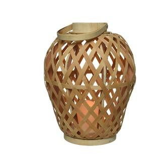 Lanterne en bambou naturel avec anse bougie led