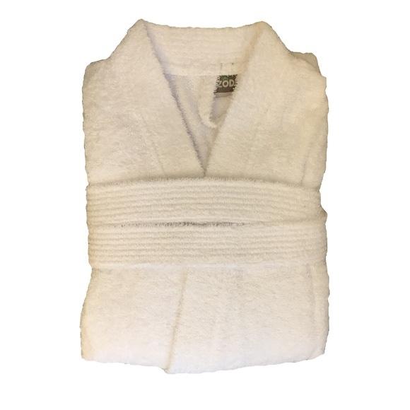 Accappatoio in spugna di cotone bianco taglia S