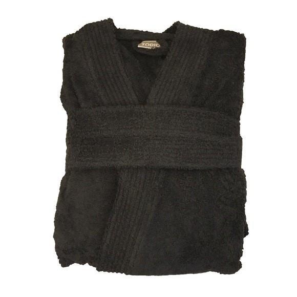 Peignoir mixte taille M en coton éponge charbon