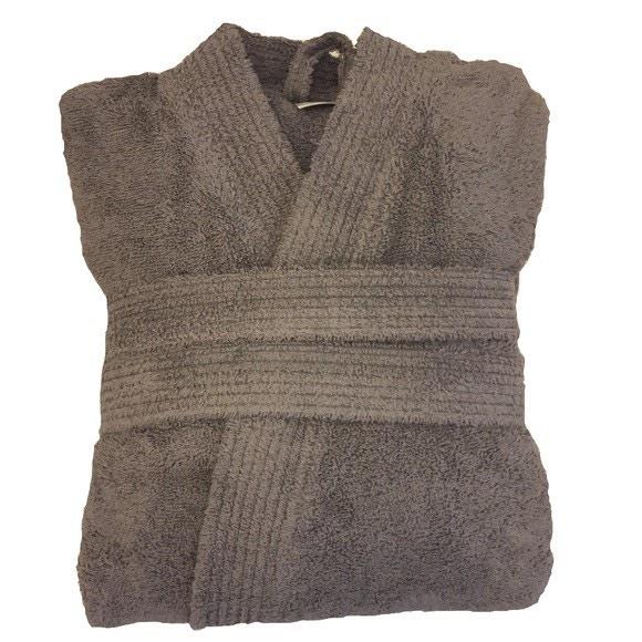 Accappatoio in spugna di cotone grigio taglia M