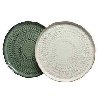 Assiette en céramique assorti vert sable