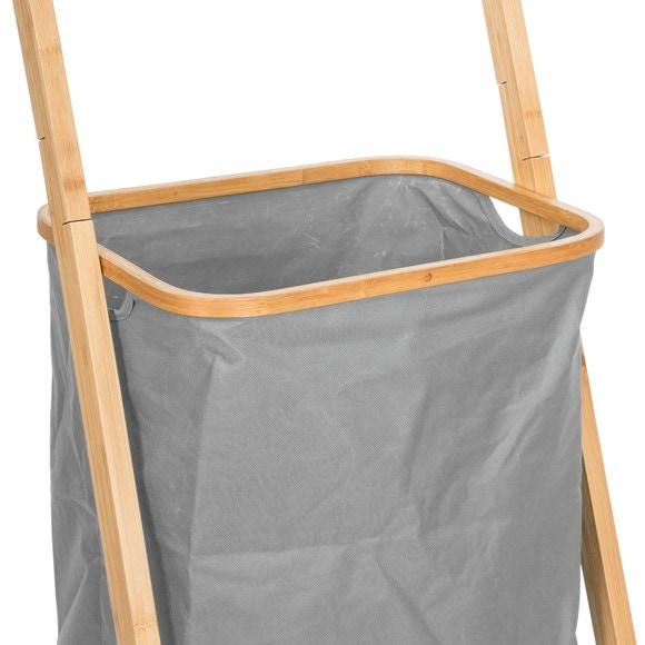Echelle porte serviette en bambou + panière à linge