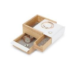 acquista online Portagioie 3 scomparti in legno e metallo bianco 17x15x11cm