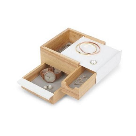 Boite à bijoux 3 compartiments en bois et métal blanc 17x15x11cm