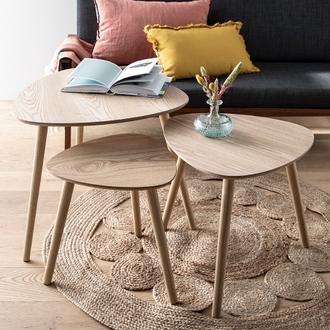 Set de 3 tables bois mileo