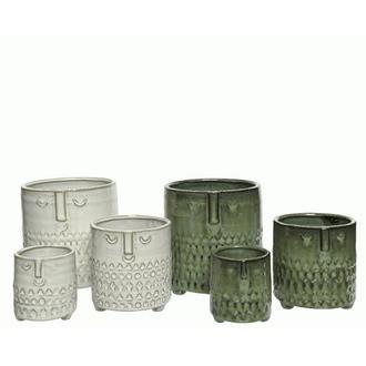 Set de 3 caches pot en céramique exotique coloris assortis