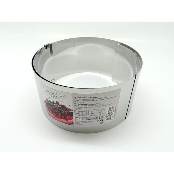 Cercle à pâtisserie extensible en inox 18-30cm haut 9cm