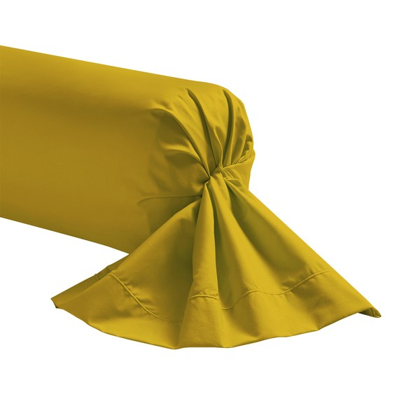 Federa per traversino in cotone giallo curry 44x185cm