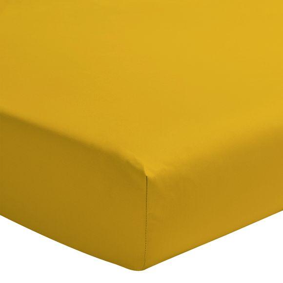 Lenzuolo con angoli singolo in cotone giallo curry
