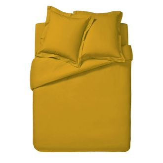 Housse de couette 200x200cm en coton jaune curry