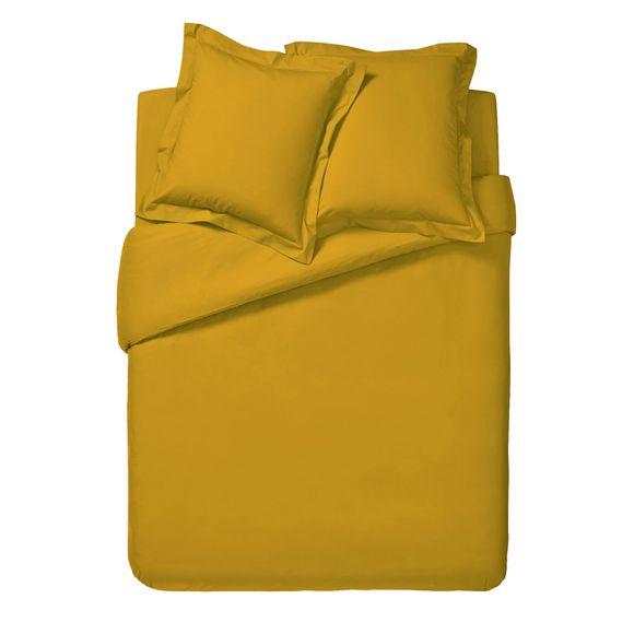 Copripiumino piazza e mezza in cotone giallo curry