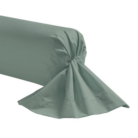 Federa per traversino in cotone verde salvia 44x185cm