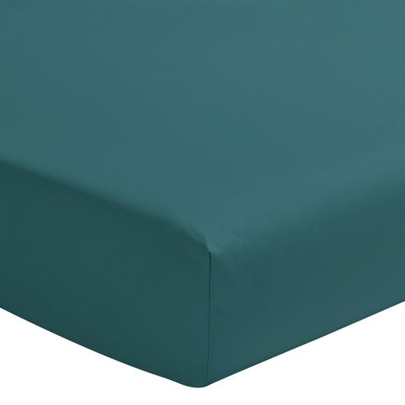 Lenzuolo con angoli singolo in cotone blu petrolio