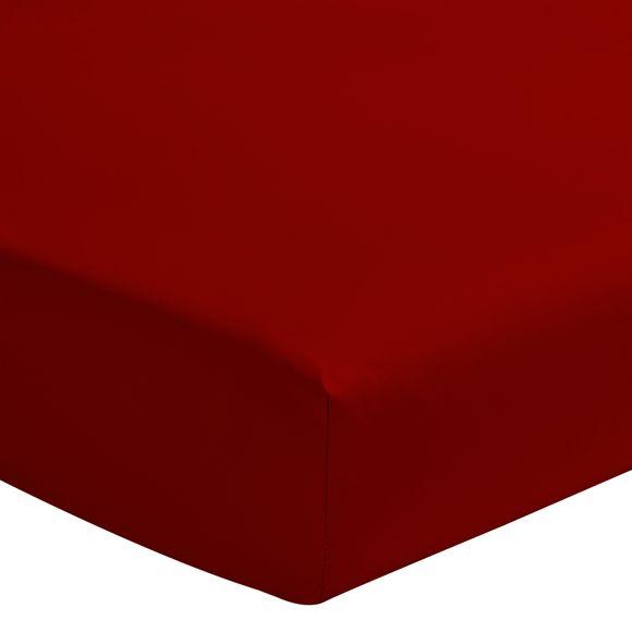 acquista online Lenzuolo con angoli matrimoniale in cotone rosso