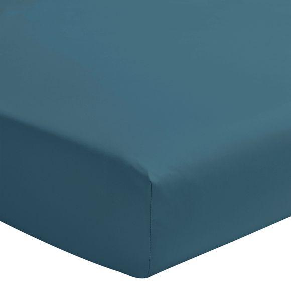 Lenzuolo con angoli piazza e mezza in cotone blu azzurro
