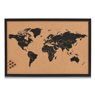 Tableau liège carte du monde 60x40cm
