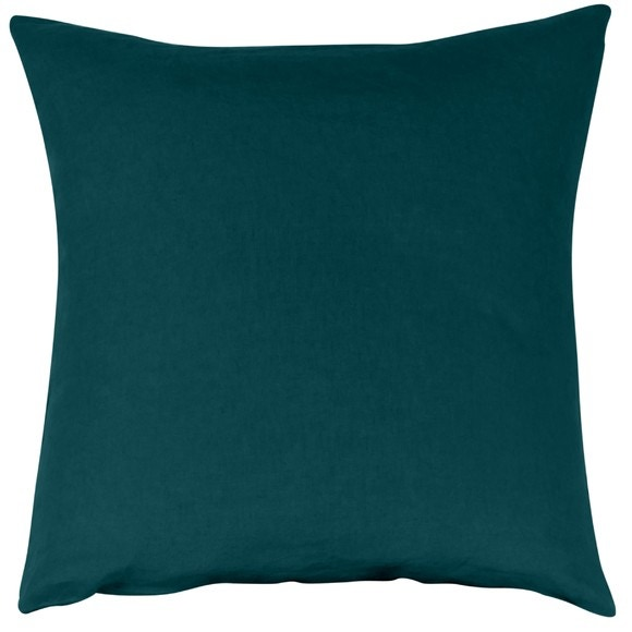 Federa quadrata in lino e cotone blu verde 65x65cm