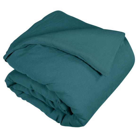 Copripiumino singolo in lino e cotone delavé blu verde