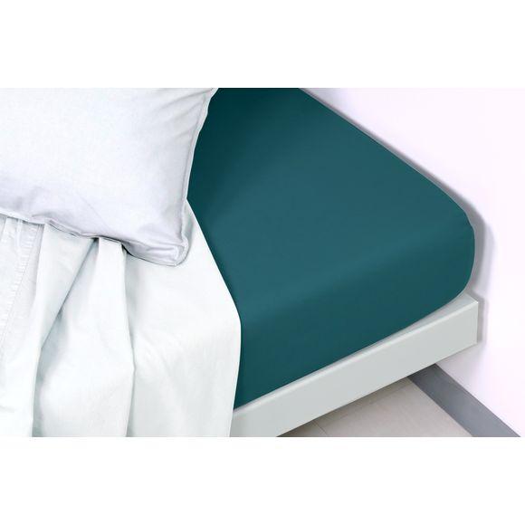 Lenzuolo con angoli singolo in cotone delavé blu verde