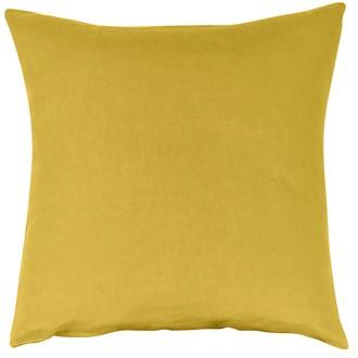 Taie d'oreiller en lin et coton lavé jaune curry 65x65cm