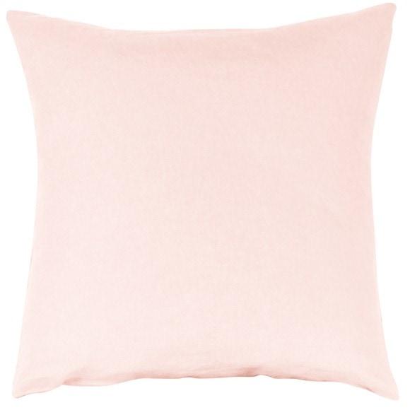 Taie d'oreiller carrée en lin et coton rose makeup 65x65cm