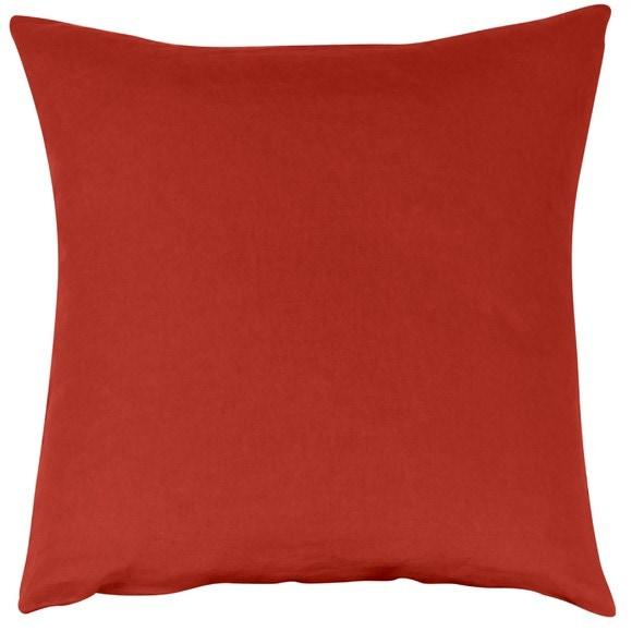 Federa quadrata in lino e cotone rosso 65x65