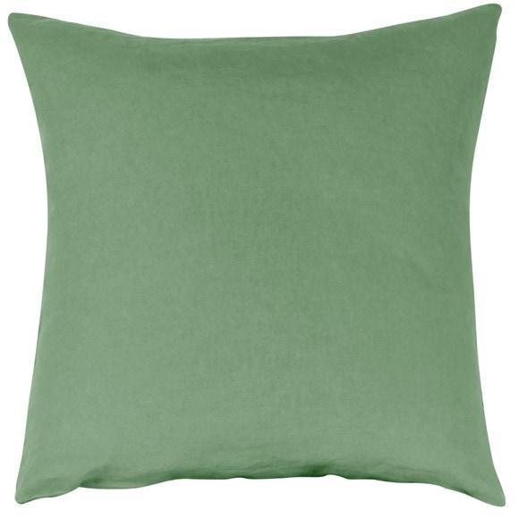 Federa quadrata in lino e cotone verde salvia 65x65cm
