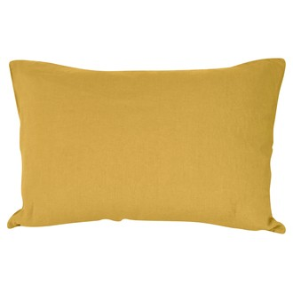 Zodio - taie d'oreiller rectangle en lin et coton jaune curry 50x70cm