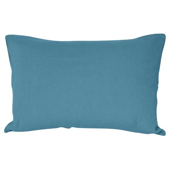 Federa in lino e cotone delavé blu azzurro 50x70