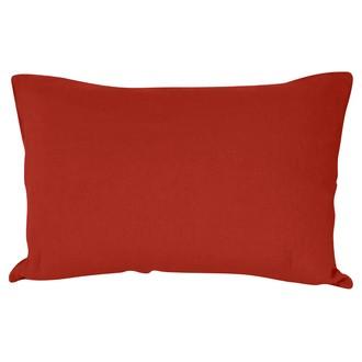 Taie d'oreiller en lin et coton lavé orange potiron 50x70cm