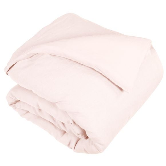 Copripiumino matrimonialein lino e cotone delavé rosa