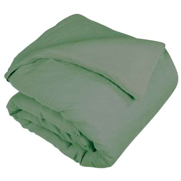 Copripiumino matrimonialein lino e cotone delavé verde salvia