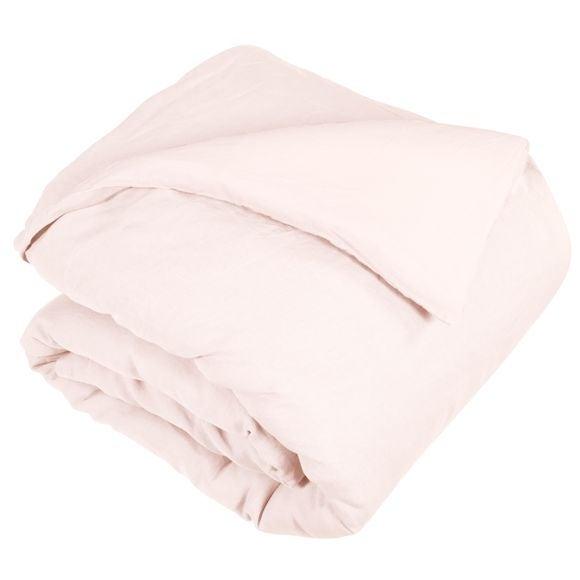 Copripiumino matrimoniale king size in lino e cotone delavé rosa