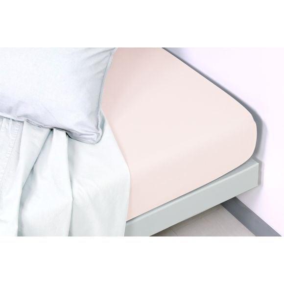 Lenzuolo con angoli singolo in cotone delavé rosa