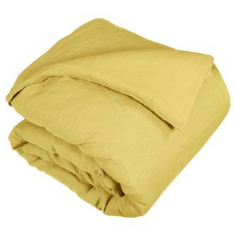 Housse de couette 140x200cm lin et coton lavé jaune curry