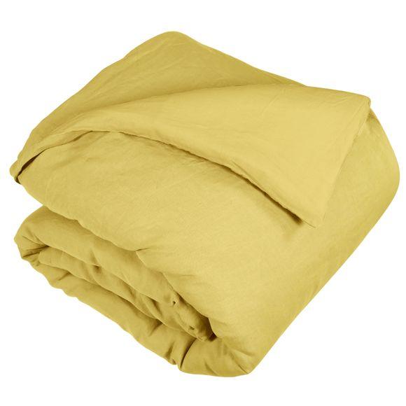 Copripiumino singolo in lino e cotone delavé giallo curry